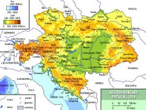 Austria-Hungary 1914, physical/Mapa fizyczna Austro-Węgier 1914. Quelle: Mariusz Paździora, own work, 2008