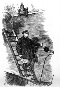 """""""Dropping the Pilot"""". Karrikatur von Sir John Tenniel (1820-1914), März 1890 im britischen Magazin """"Punch"""""""