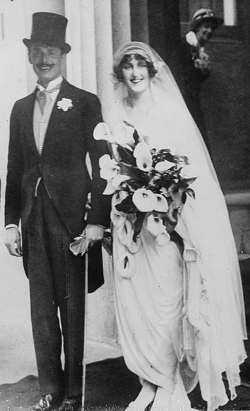 British politician Sir Oswald Ernald Mosley, 6th Baronet (1896-1980) and Lady Cynthia, née Cynthia Blanche Curzon (1898-1933), on their wedding day. By George Grantham Bain Collection (Library of Congress)