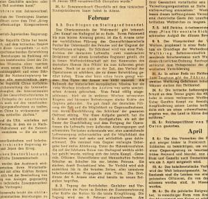 """Originalauszug aus dem """"Völkischen Beobachter"""" vom 29. Dezember 1943 - Das Jahr 1943 im Spiegel der Chronik -. """"Das Ringen um Stalingrad beendet"""" ist für den 3. Februar 1943 vermerkt"""