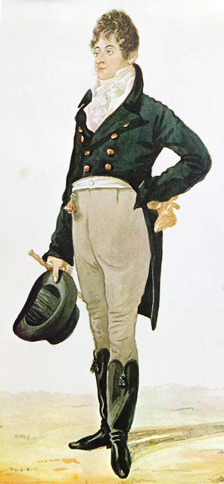 """Karrikatur von George """"Beau"""" Brummell (1805)"""