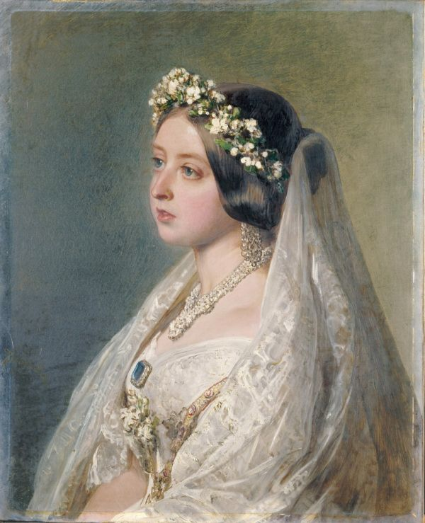 Victoria, 1847, Ölgemälde von Franz Xaver Winterhalter - Original painting owned by the Royal Collection. Source of photograph unknown, Gemeinfrei
