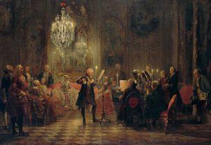 Flötenkonzert Friedrichs II. in Sanssouci (Gemälde von Adolph Menzel, 1850–52)
