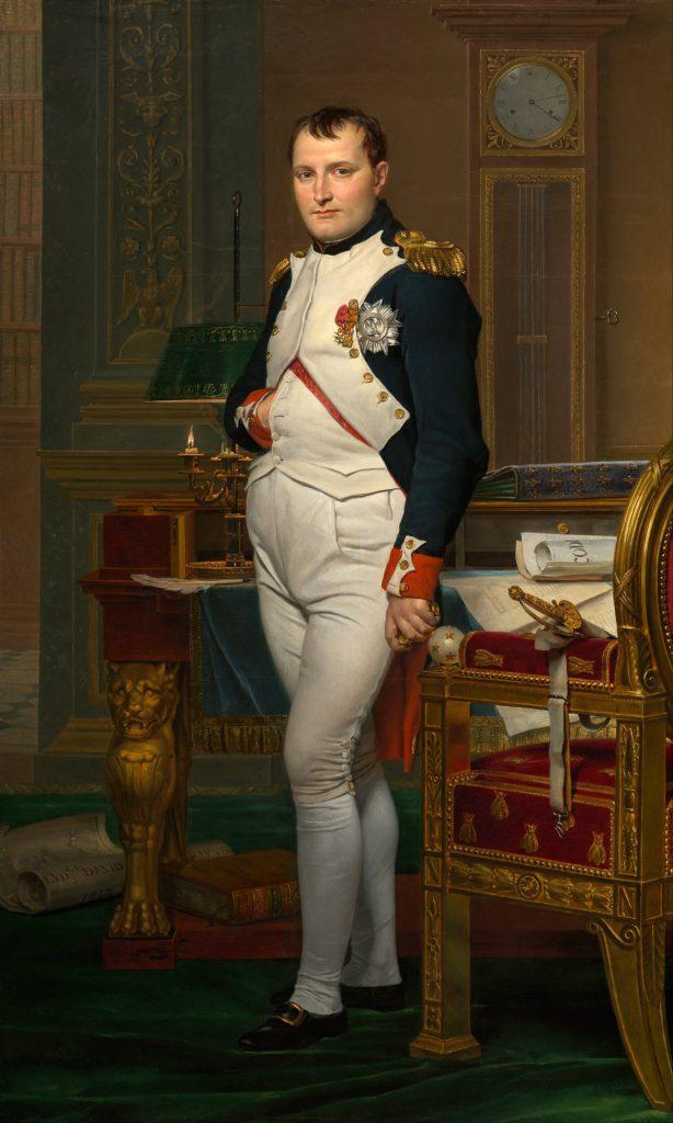 Napoleon im Arbeitszimmer mit Hand in der Weste (Gemälde von Jacques-Louis David, 1812), Gemeinfrei