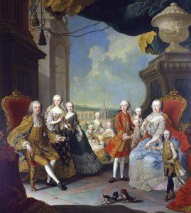 Maria Theresia von Österreich und Franz Stephan von Lothringen im Kreise ihrer Kinder. Der zukünftige Joseph II. steht mitten im Stern (Gemälde um 1754)