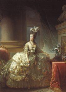 Porträt von Marie Antoinette mit einer Rose, 1778 gemalt von ihrer Lieblingskünstlerin Élisabeth Vigée-Lebrun