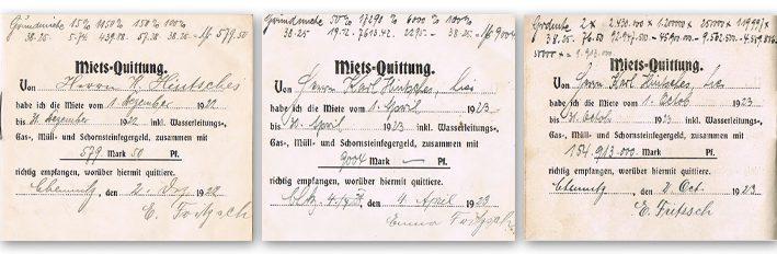 Mieterhöhung während der Zeit der Hyperinflation nach der französischen Besetzng des Ruhrgebiets im Januar 1923: Von 579,50 Mark (31. September 1922) auf 9004 Mark (1. April 1923) und schließlich auf 154.913.000 Mark (2. Oktober 1923). Foto: Agentur für Bildbiographie