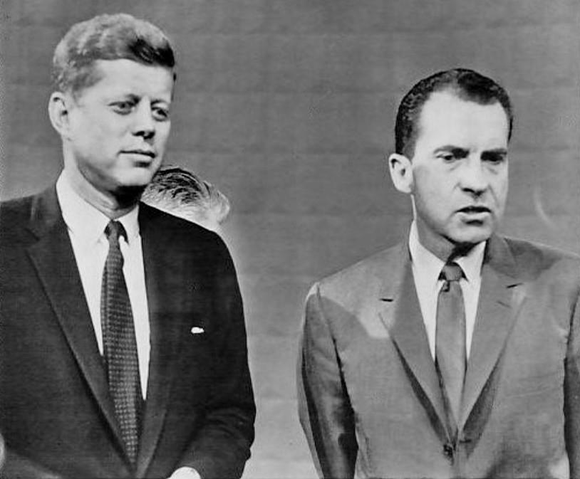 Erste Fernsehdebatte von Kennedy und Nixon im Wahlkampf 1960